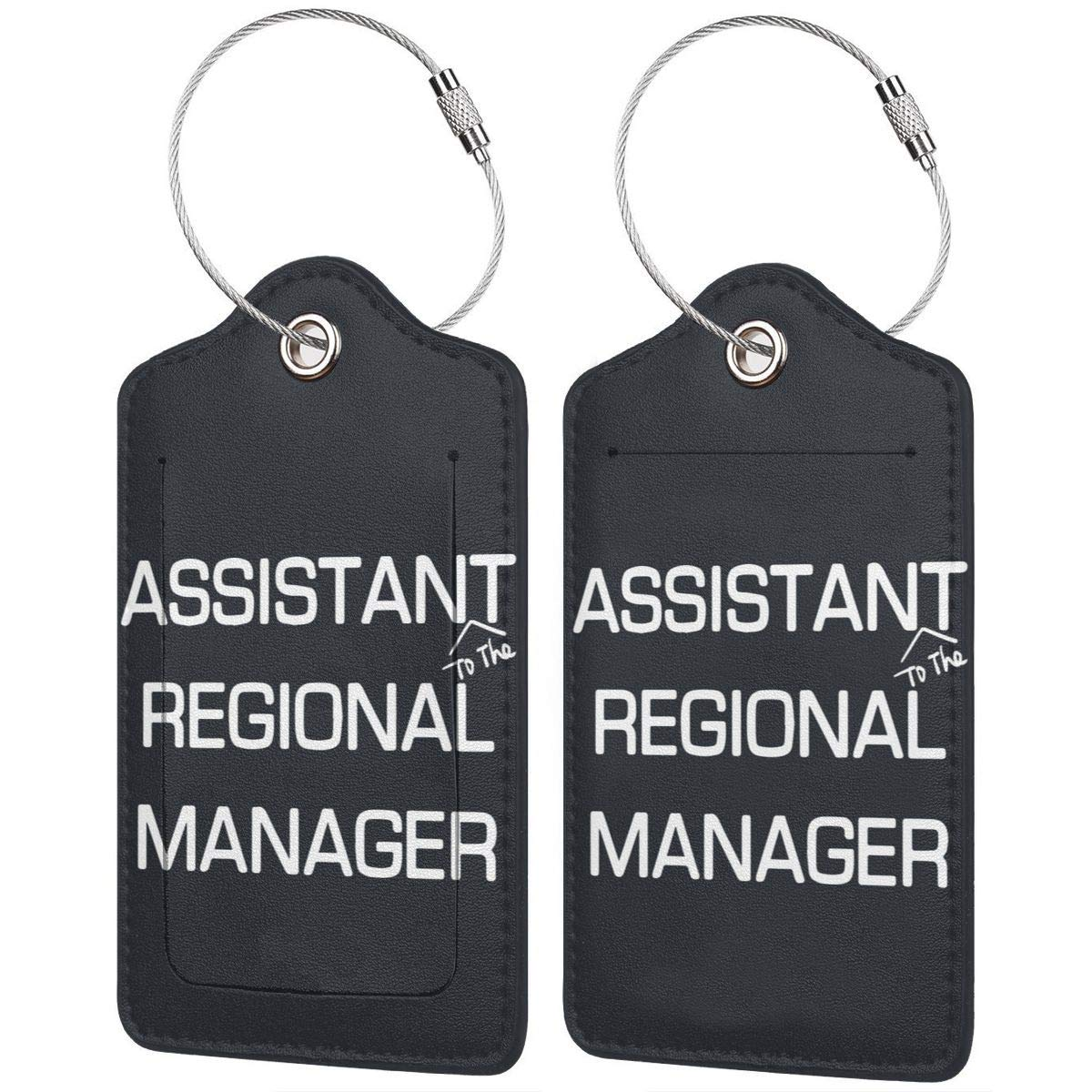 Assistant to The Regional Manager Leather Luggage Tags Suitcase Tag Travel Bag Labels With Privacy Cover For Men Women 2 Pack 4 Pack