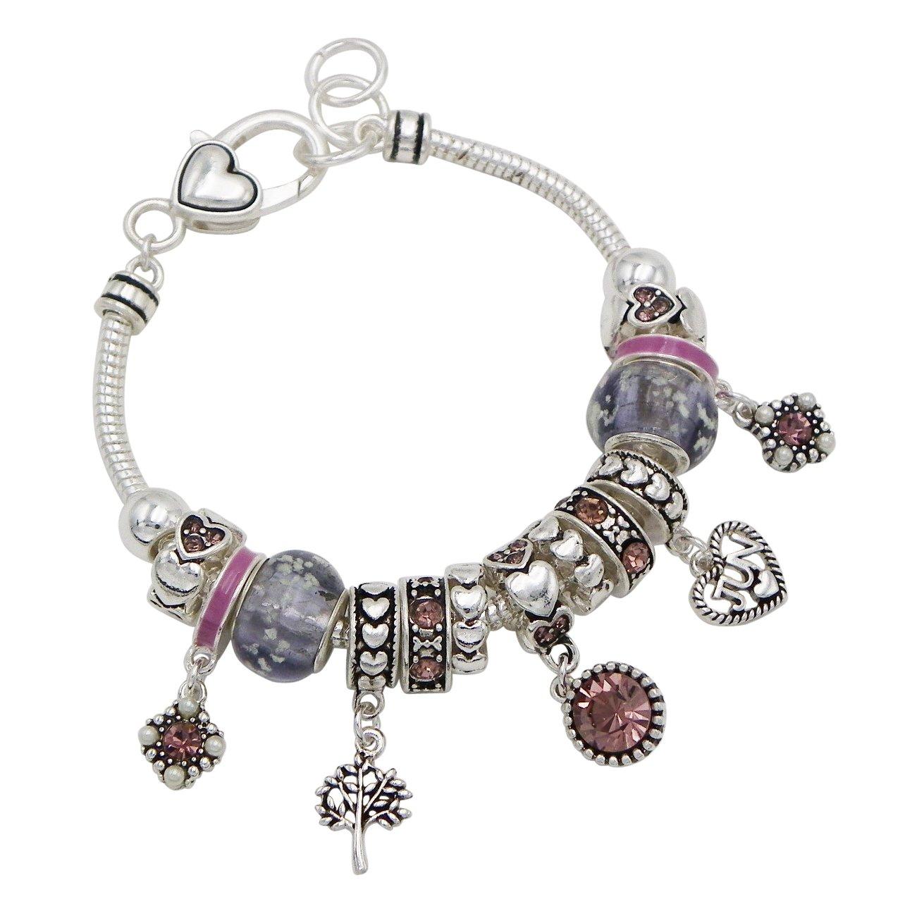 Rosemarie Collections Women's Birth Month Birthstone Glass Bead Charm Bracelet (June)