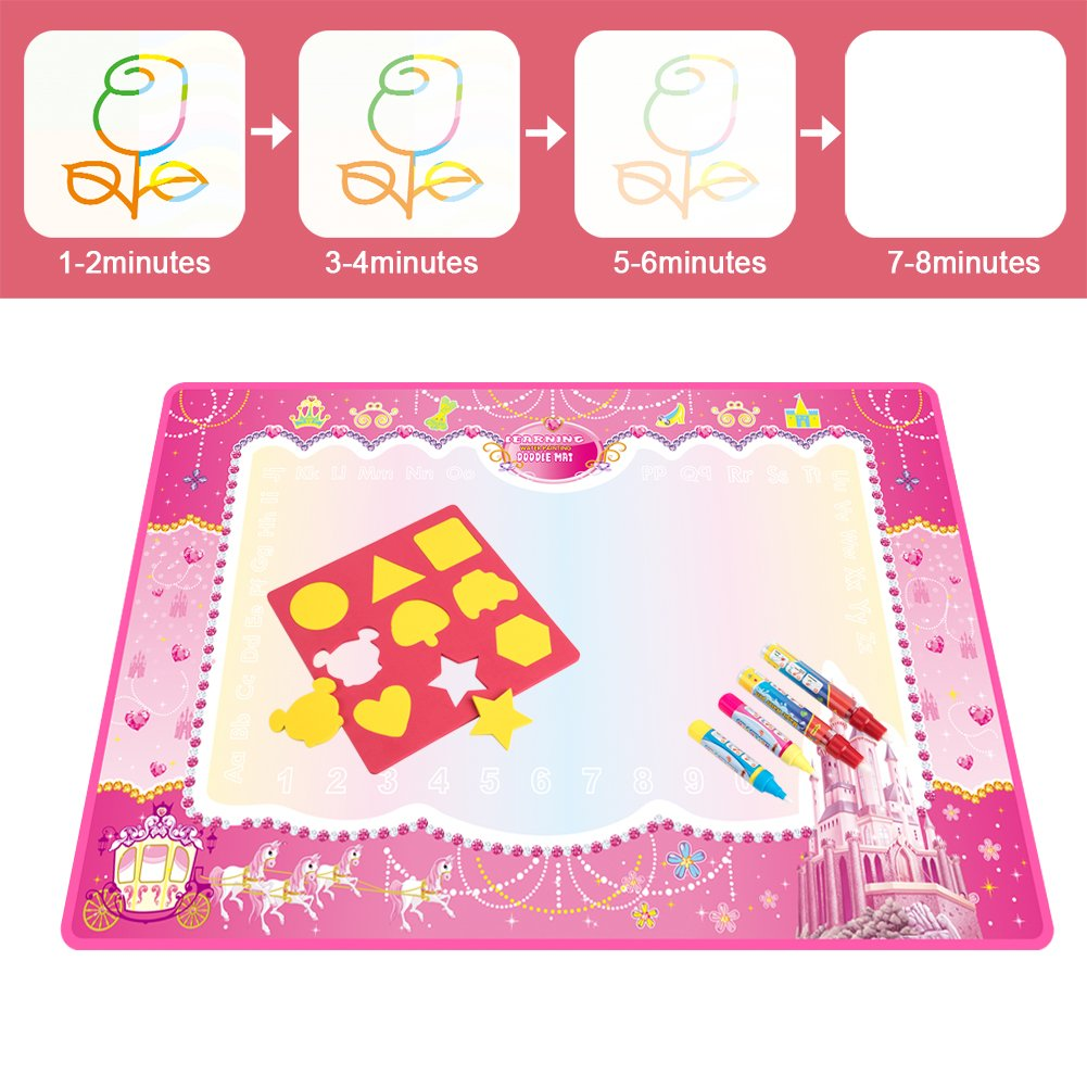 Water Doodle Mat, Water Drawing Mat Kids Toys Large Magic Toddlers Painting Board Writing Mats Scribble Boards with 4 Magic Pen and Draw Templates for Boys Girls Learning Gift Size 29 x 19 (Pink) by Vidillo (Image #3)