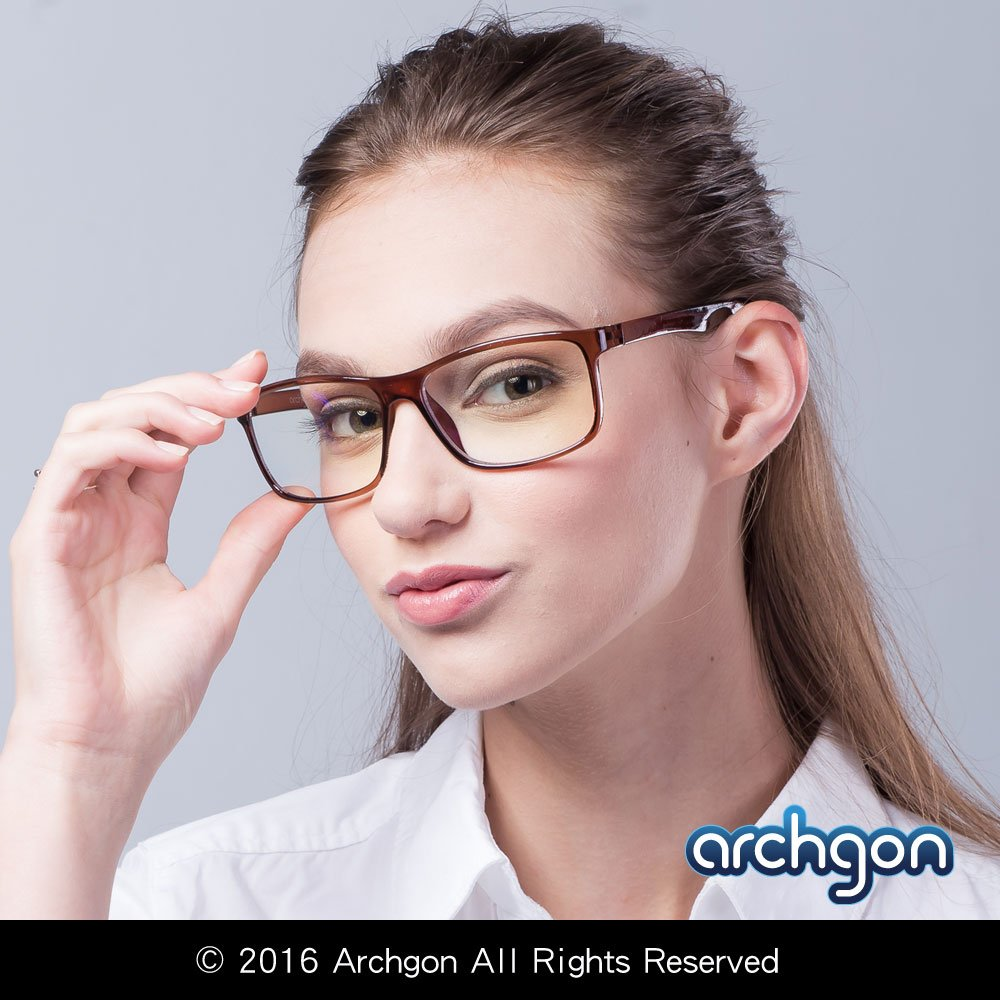 Archgon Fashion Computer Glasses Anti Blue Light UV Protection A+ Crystal Tempered Lens Model Berlin Classic GL-B104-BR