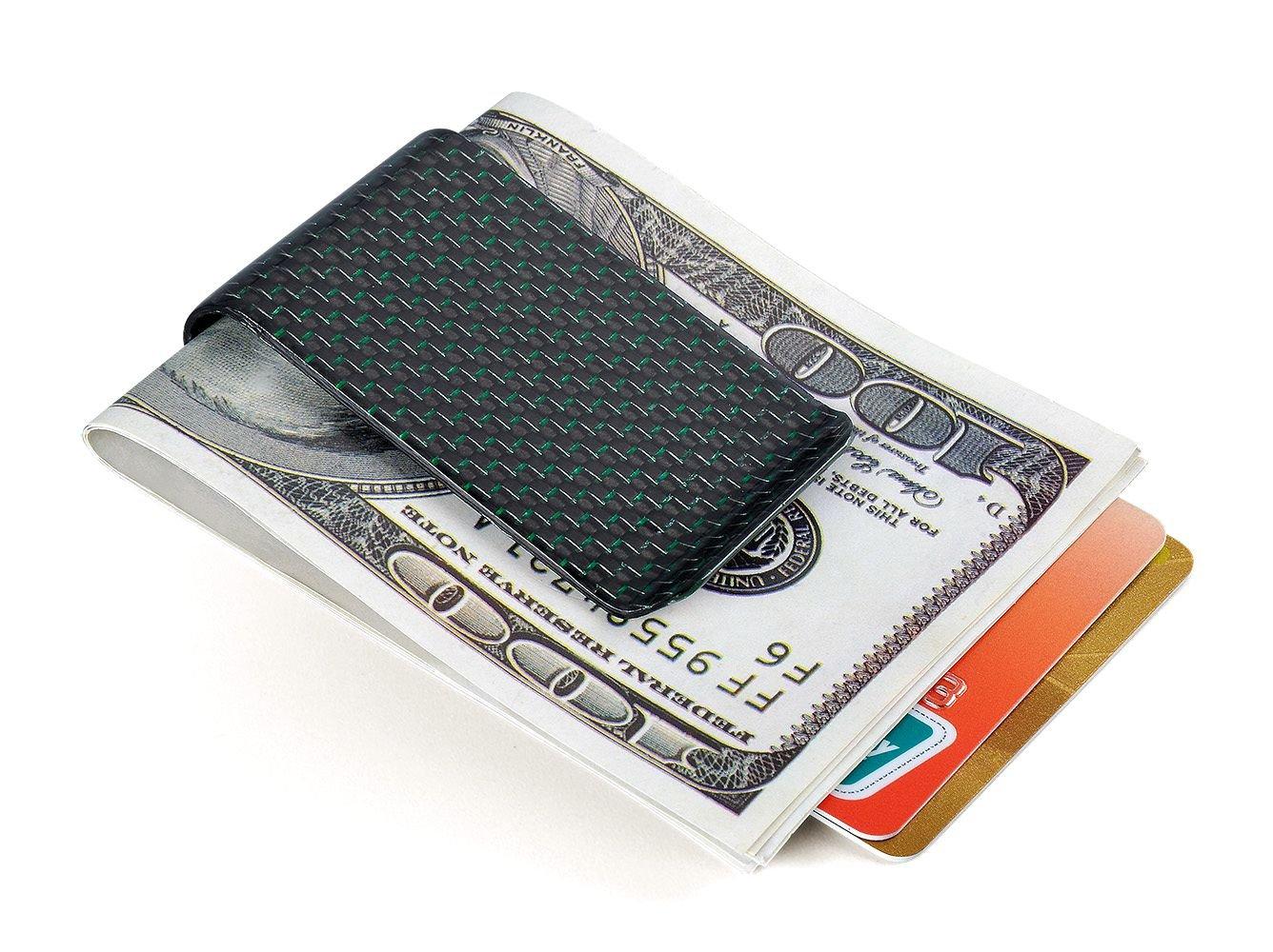 Glossy Money Clip Credit Card Business Card Holder Carbon Fiber Wallet CL Carbonlife GREEN M