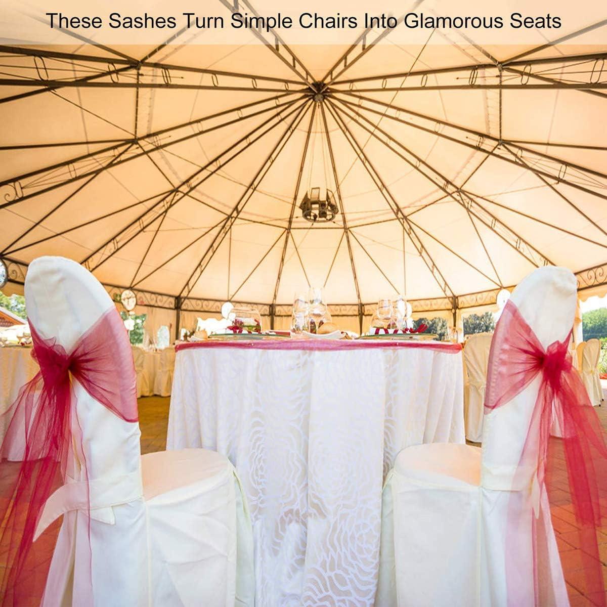 Rosa Chiaro 108 Sedia Organza Fiocco BIT.FLY 50 Pezzi 7 Organza Poltrona Fiocchi per Matrimoni Feste di Compleanno Decorazione