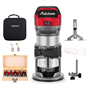 Avid Power 6.5-Amp 1.25 HP Compact Router with Fixed Base, 5 Trim Router Bits, Variable Speed, Edge Guide, Roller Guide and Dust Hood, Avid Power