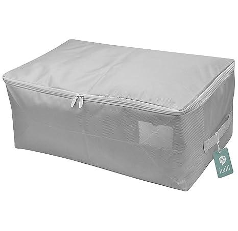Suave bolsa de almacenaje organizadora para ropa, caja de almacenamiento para colchas, edredones, mantas. A prueba de polvo, resistente a la humedad ...