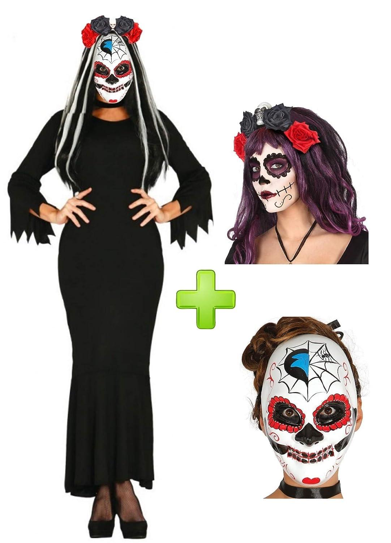 Disfraz de Catrina Vestido Negro: Amazon.es: Ropa y accesorios