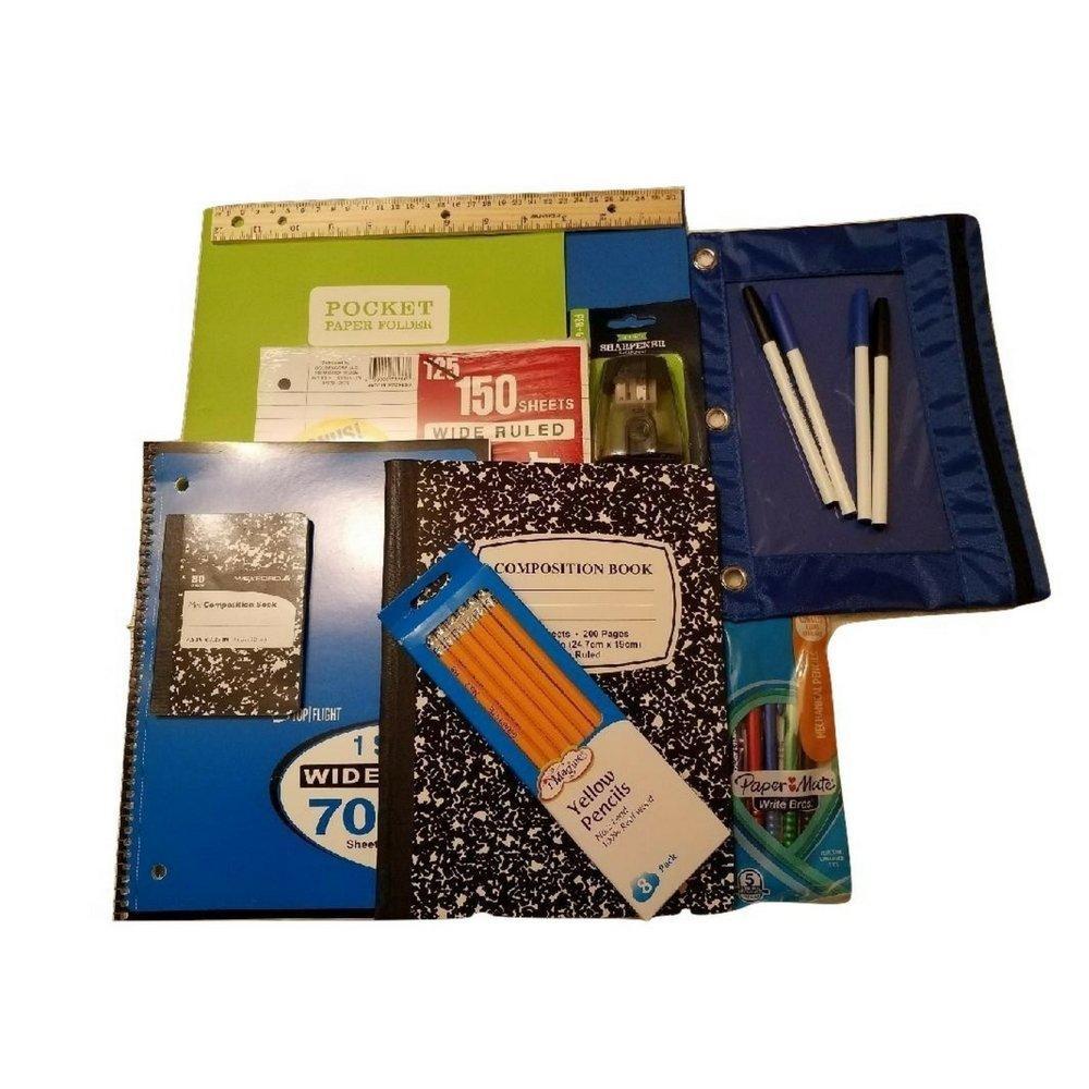 Back to School Supplies Bundle - Black & White Composition Book, Folders, Blue Spiral Notebook, Pencil Pouch, Pencils, Eraser, Sharpener, Ruler, Pens, Loose Leaf Filler Paper
