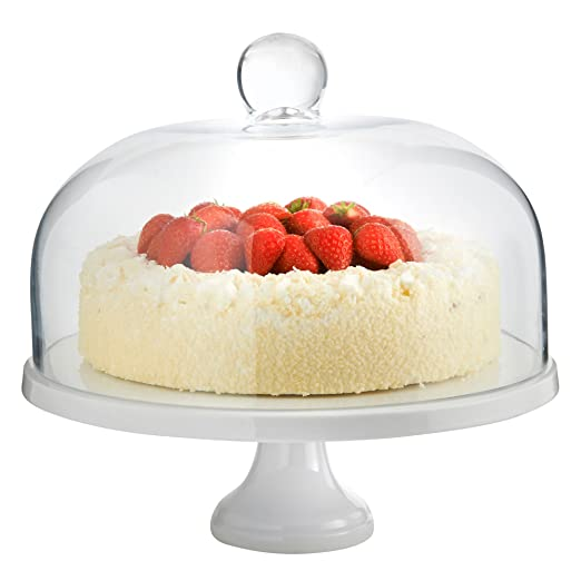 VonShef White Ceramic Cake Stand and Glass Dome - 29cm Diameter Amazon.co.uk Kitchen \u0026 Home  sc 1 st  Amazon UK & VonShef White Ceramic Cake Stand and Glass Dome - 29cm Diameter ...