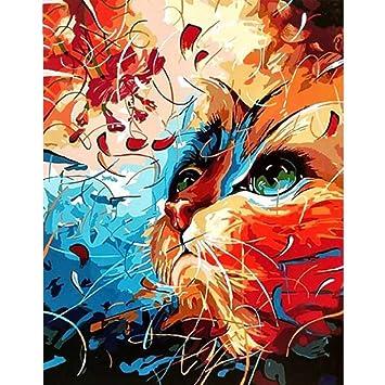 Dibujo de diy pintado a mano por números en lienzo gato abstracto cuadros de animales pinturas
