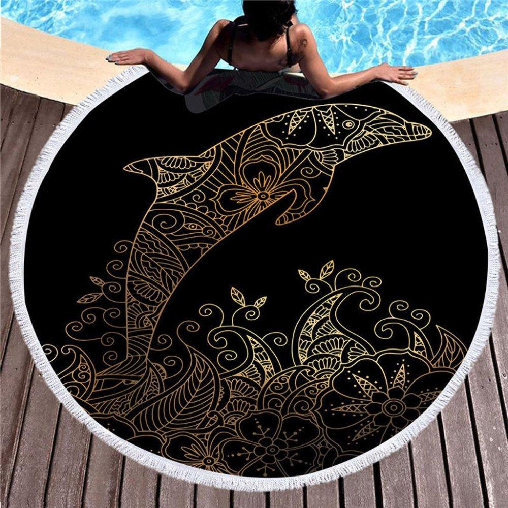 SHASHA Toallas De Playa Ronda Delfín Playa Toalla Arena Prueba Manta Arena Playa Esterilla Moda Playa Tiro Tapiz Yoga Esterilla Picnic Esteras: Amazon.es: ...