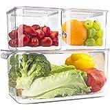 elabo Food Storage Containers Fridge Produce Saver- 3 Piece Set Stackable Refrigerator Organizer Keeper Drawers Bins Baskets