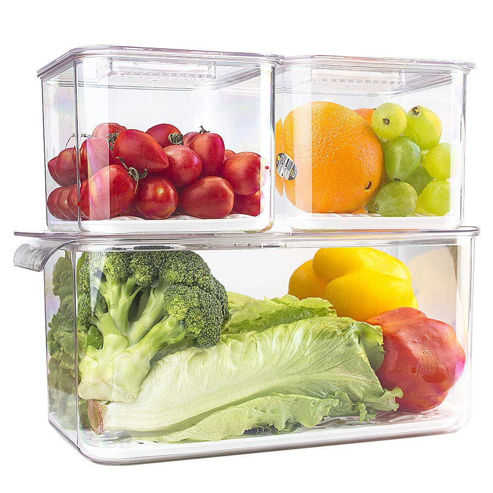 elabo Food Storage Containers Fridge Produce Saver- 3 Piece Set Stackable Refrigerator Organizer Keeper Drawers Bins Baskets with Lids and Removable Drain Tray for Veggie, Berry, Fruits and Vegetables