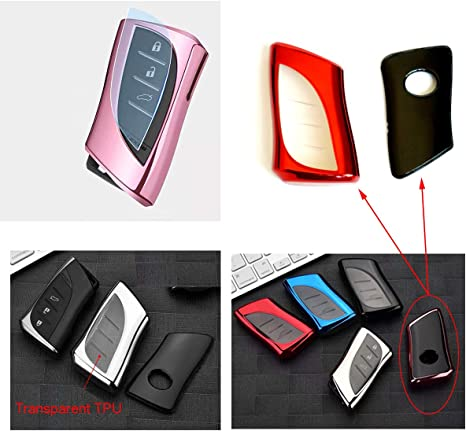 Royalfox 3 4 Buttons Soft TPU Smart keyless Remote Key Fob case Cover Shell Keychain for 2018 2019 2020 Lexus UX200 LS500 LS500H LC500 LC500h ES300h ES350 HYQ14FBA-0440 Pink TM