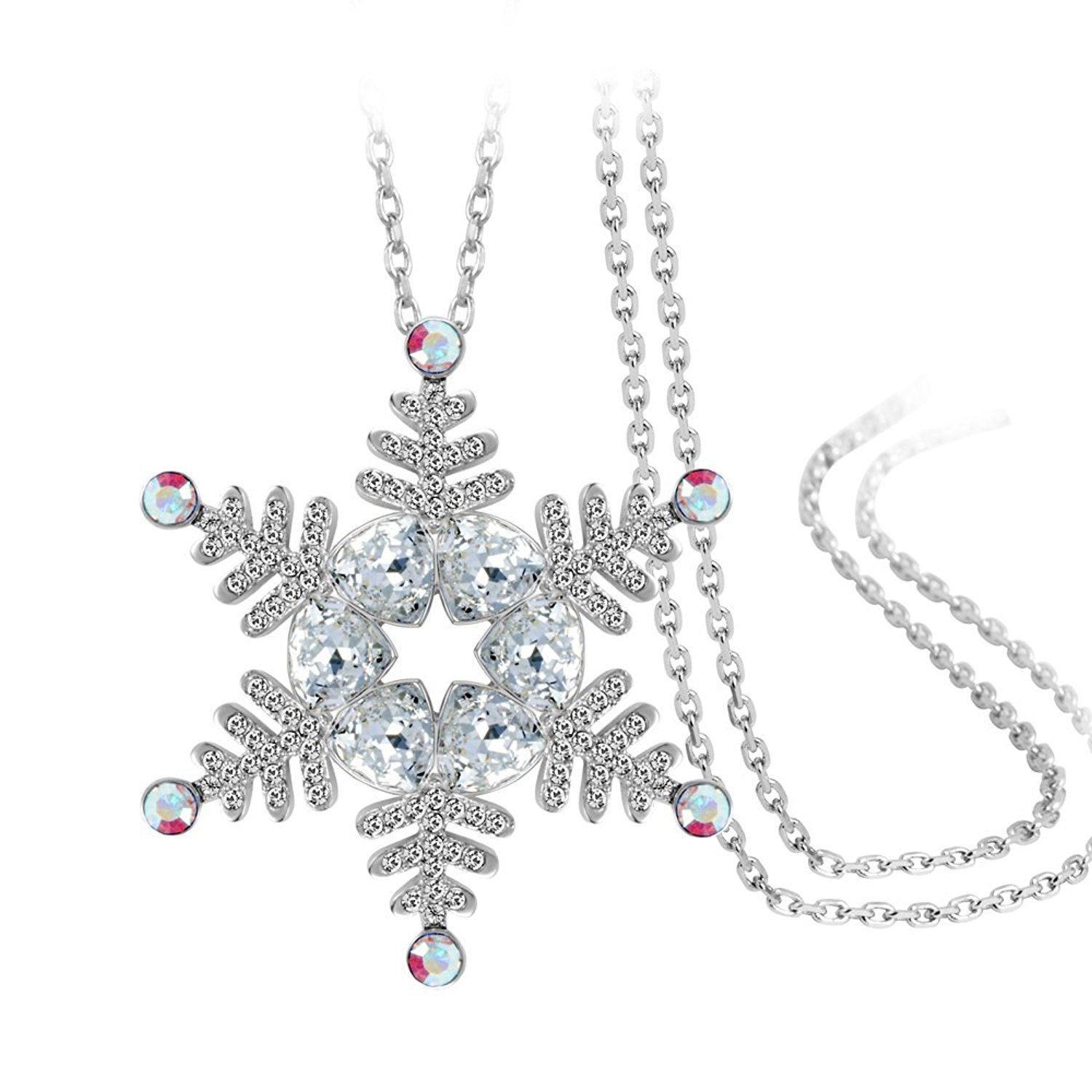 IUHA ''Frozen'' Beautiful Snowflake Long Necklace made with Swarovski Crystal For Women Love Gift