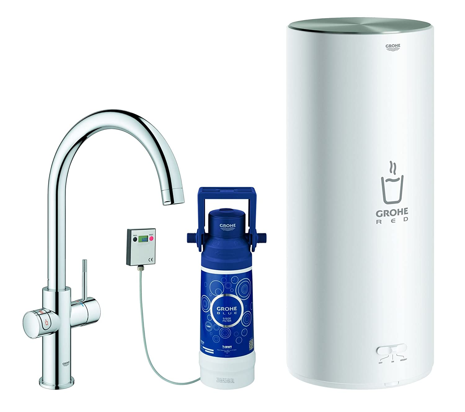 GROHE 30328DC1, Red 2.0 Duo Tap, 7 Litre (Net volume: 5.5 Litre)