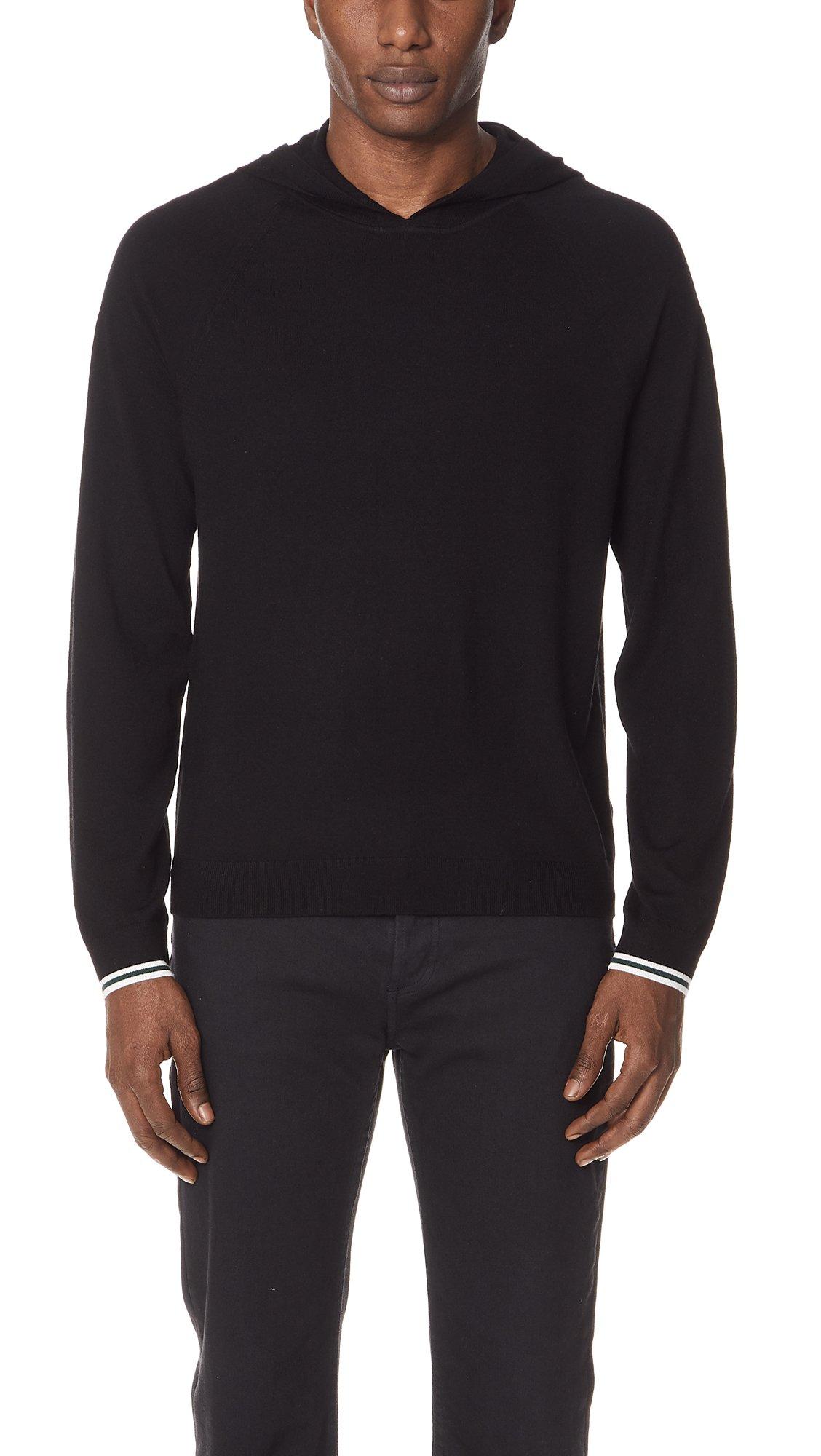 Vince Men's Pullover Hoodie Sweater, Black, Medium