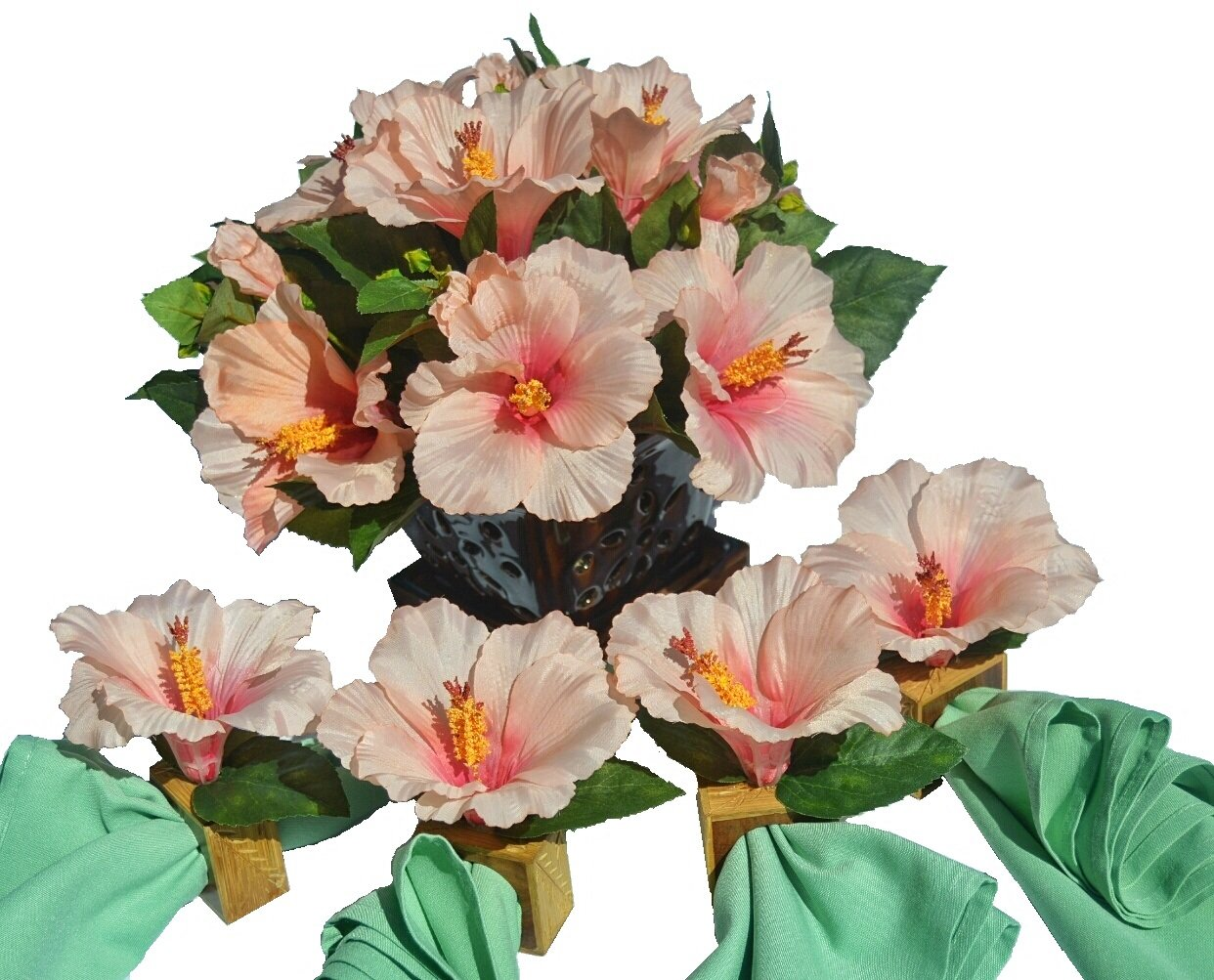 Hospitality Florals Tropical Pink Hibiscus Centerpiece Ensemble with 4 Matching Mango Wood Napkin Rings by Hospitality Florals