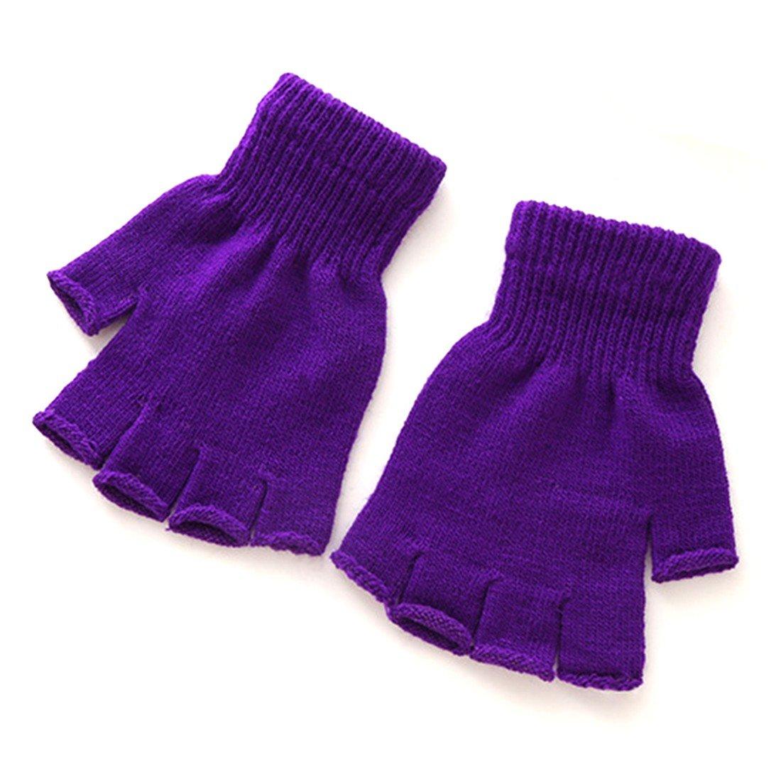1 Pair Winter Soft Warm Elastic Knitted Stretch Half Finger Gloves Purple