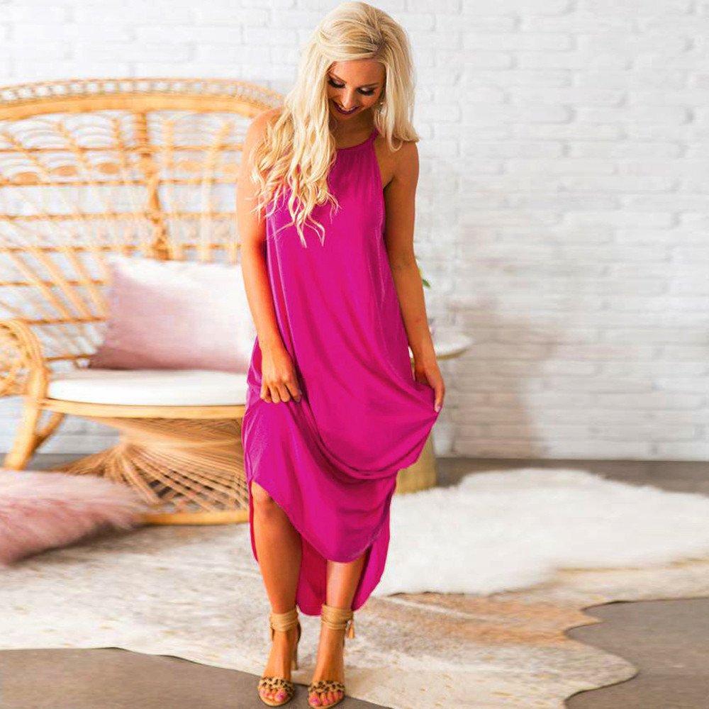 PERFURM Womens Loose Summer Beach Gallus Sleevesless Evening Party Long Dress