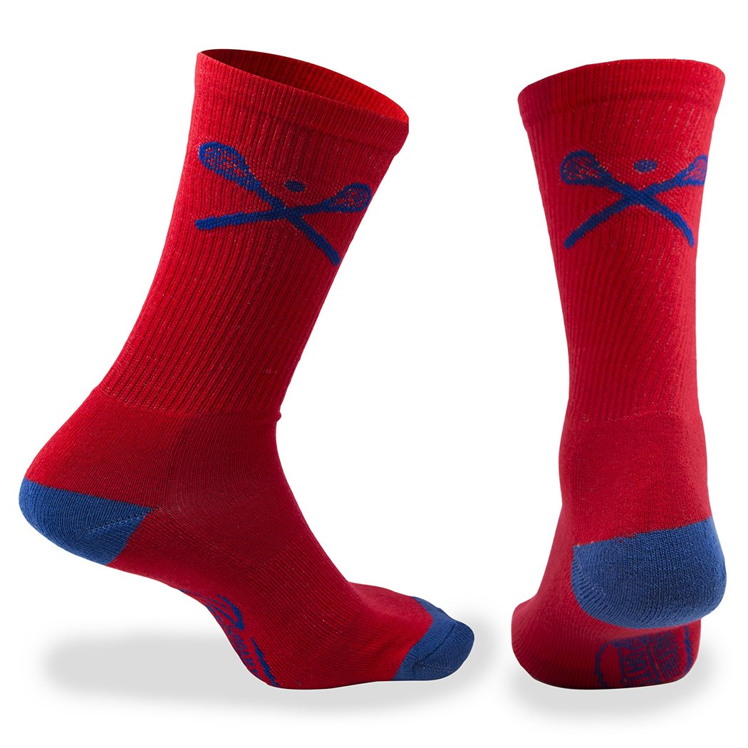 ChalkTalkSPORTS Lacrosse Athletic Half Cushioned Crew Socks | Crossed Lax Sticks in lx-02602