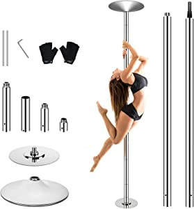 WeValor Spinning Dance Pole Kit, Removable Portable Dancing Pole for Beginner and Professional Dancers, Adjustable Height Stripper Pole with Dancing Gloves for Home, Fitness Exercise Club, Bar Party