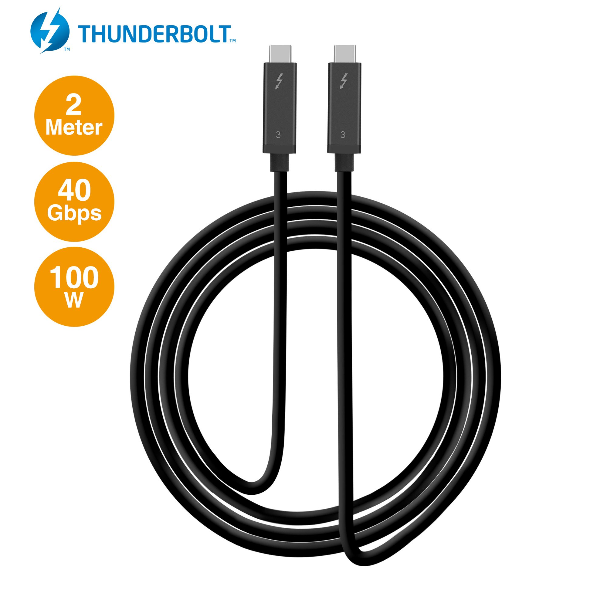 SIIG Thunderbolt 3 Certified, 40Gbps 2M Thunderbolt 3 Active Cable - 100W Charging/5A/20V - Daisy Chain up to 6 Devices - USB Type C with Thunderbolt Logo Compatible - 6.6 Ft by SIIG