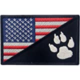 Tactical US Flag with Tracker Paw Patriot Milltary Embroidered Applique Morale Hook & Loop Patch - Multiple Color