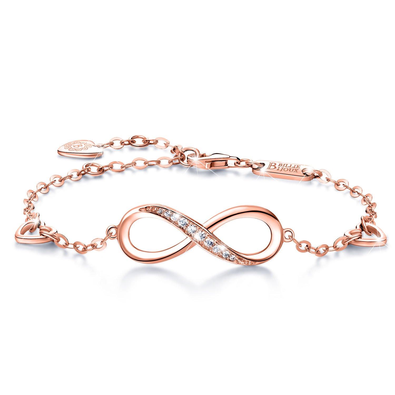Billie Bijoux 925 Sterling Silver Infinity Bracelet Womens Rose Gold Endless Love Symbol Charm Adjustable Bracelet