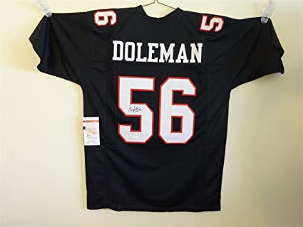 9ced595a6bf Image Unavailable. Image not available for. Color: CHRIS DOLEMAN SIGNED  AUTO ATLANTA FALCONS BLACK JERSEY HOF 12 JSA AUTOGRAPHED