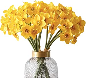 FagusHome Artificial Daffodil Flowers 3 Bunches Faux Yellow Daffodils Flowers18 Pcs Faux Decor Bouquets for Home Office Store Party Decor (Yellow)