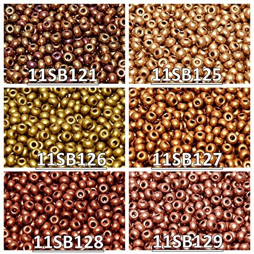 006 Glasses (11/0 (2mm) 6x20gr Czech Round Glass Seed Beads, Rocailles. Set 11SB 006 - total 120gr (approx. 15600 pcs) 11SB121 11SB125 11SB126 11SB127 11SB128 11SB129)
