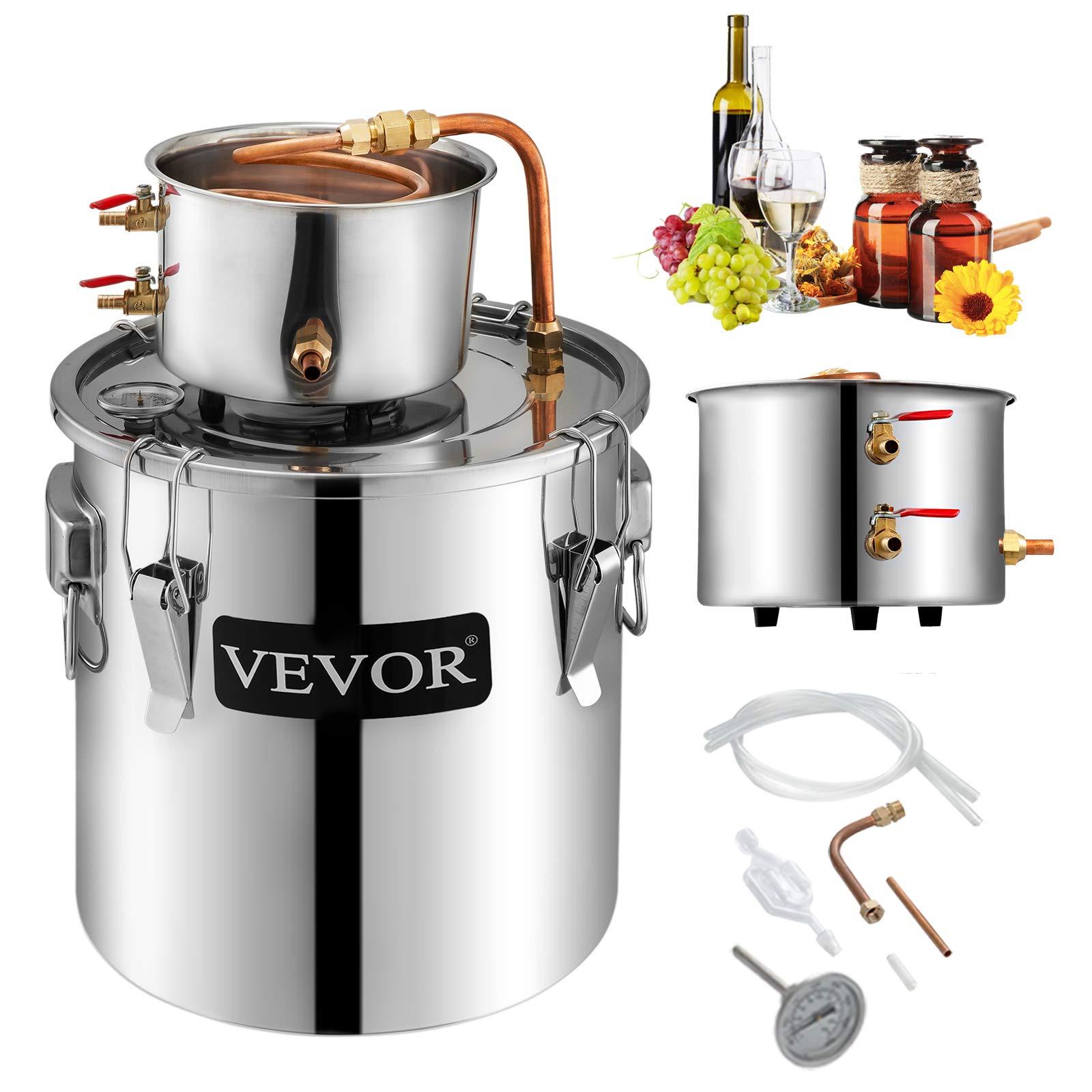 VBENLEM Moonshine Still 5 Gal/ 21 Liter Stainless Steel Water Alcohol Distiller Copper Tube Home Brewing Kit Build-in Thermometer for DIY Whisky Wine Brandy Spirits Brandy