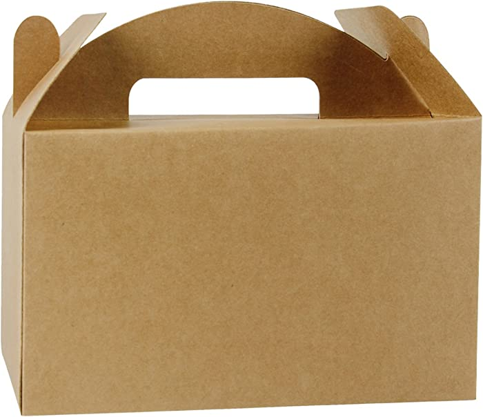 LaRibbons 25 Pack Treat Gift Boxes - 9.5 x 5 x 5 inches Brown Paper Box Recycled Kraft Gift Box Birthday Party Shower Favor Box