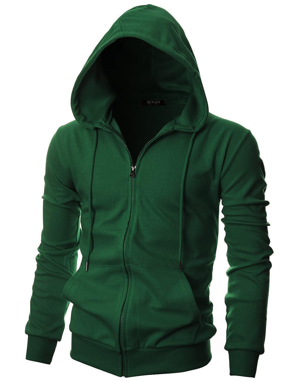 Mens Fleece Neon Strings Long Sleeve Zip Up Zipper Hoodies Sweatshirt Jacket Top