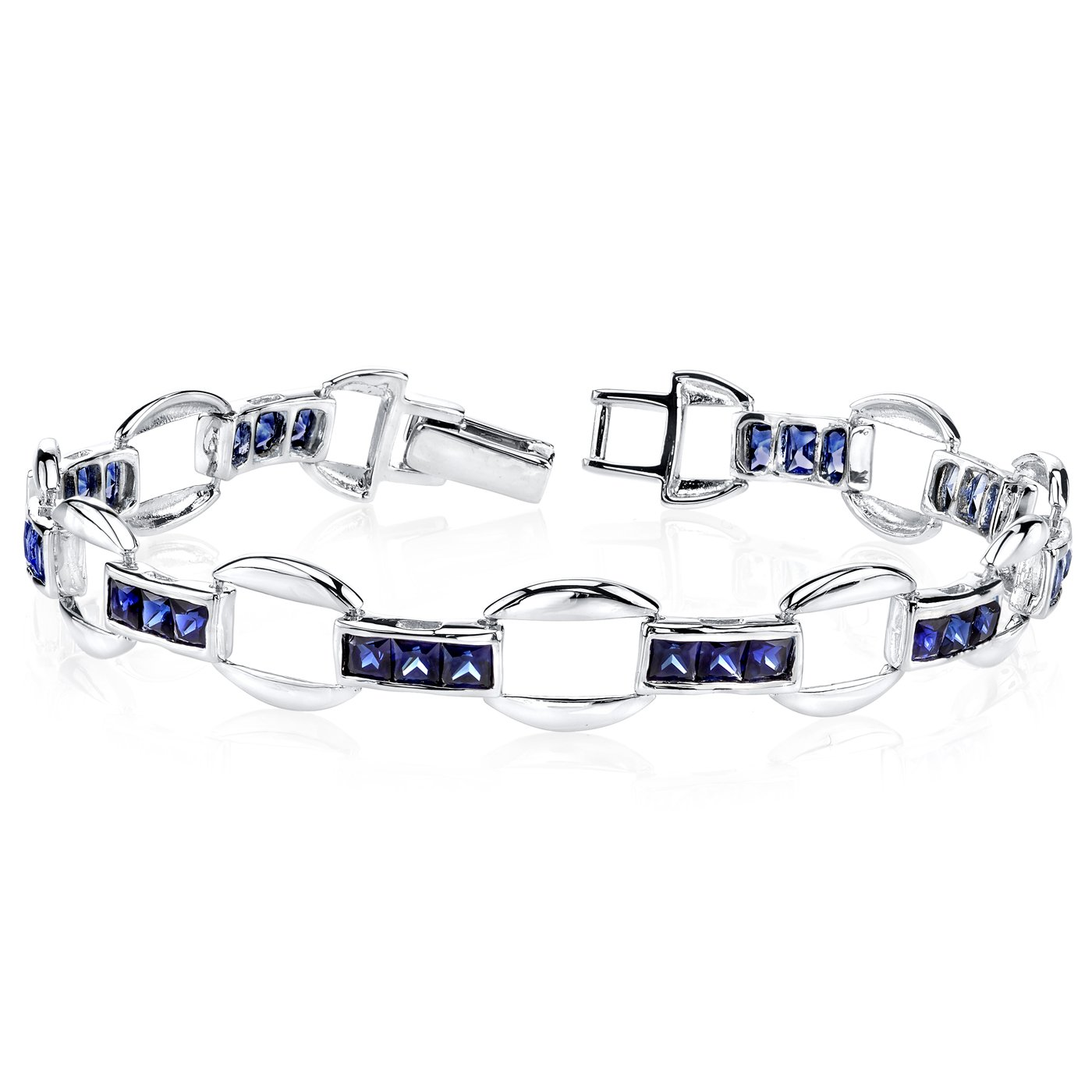 Created Sapphire Bracelet Sterling Silver Princess Cut