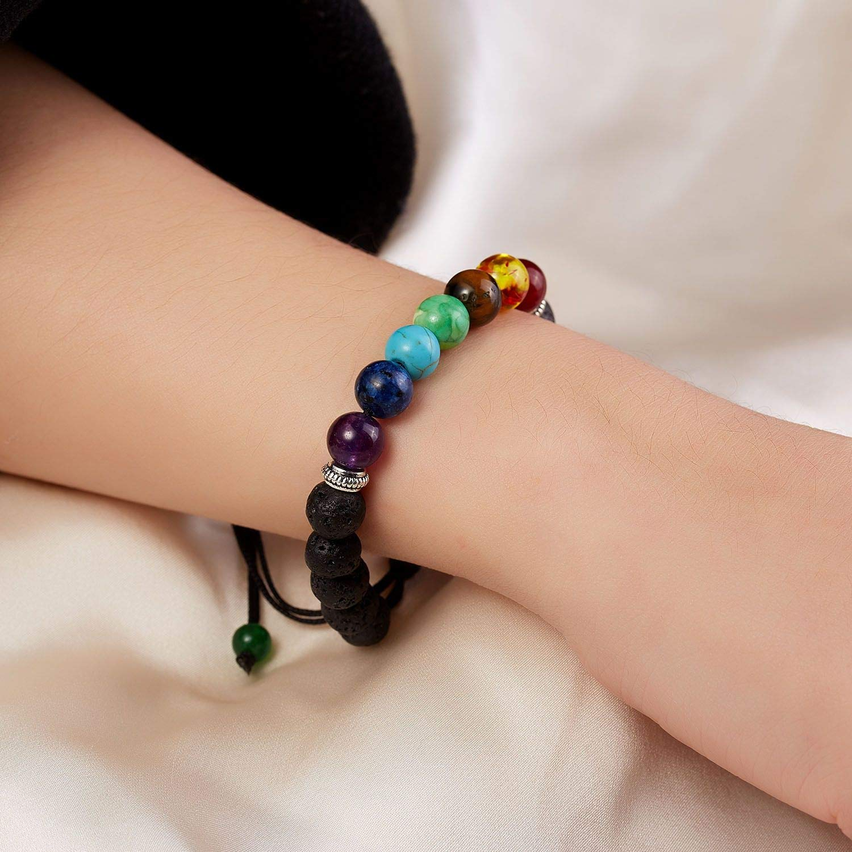 lucky-shopping Classic Chakra 8mm Lava Stone Beads 7 Colors Chain Bracelets for Women Men Elastic Rope Yoga Fashion Bracelet Friendship