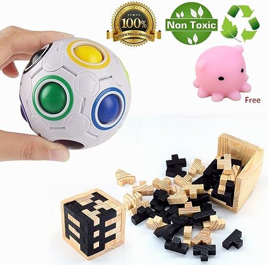 Morbuy Puzzles 3D Juguetes IQ Challenge Toys Puzzle de Cubo para ...