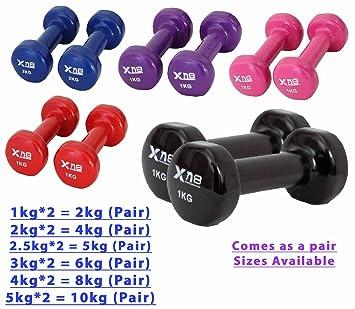 Vinilo juego de mancuernas 2 kg, 4 kg par – Ideal para entrenamiento Fitness cuerpo