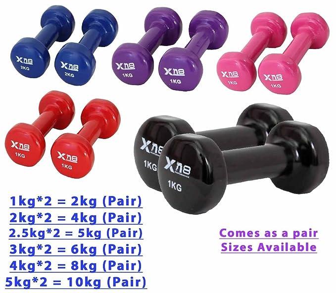 Vinilo juego de mancuernas 2 kg, 4 kg par - Ideal para entrenamiento Fitness cuerpo tonificación ejercicio de gimnasio en casa Fuerza Biceps entrenamiento ...
