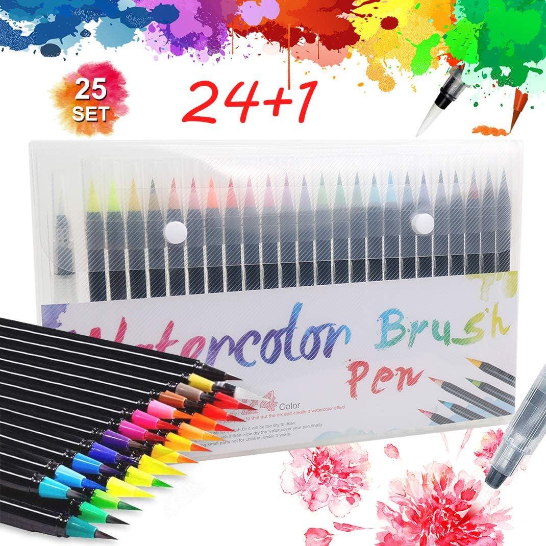 Pack de 24 rotuladores acuarelables + pincel de agua por sólo 7,49€ con el #código: SQ87EGV4