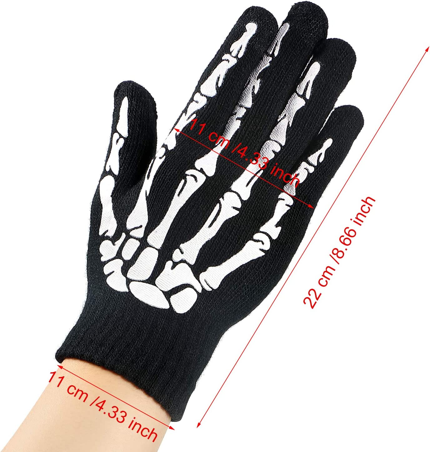 Tatuo 3 Pairs Stretch Knitted Skeleton Gloves Touchscreen Winter Full Finger Gloves for Halloween