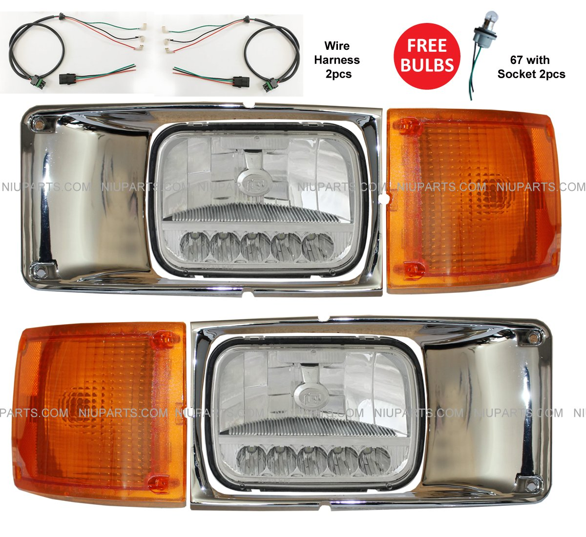 Headlight Reflector High Low Beam Led With Bezel Chrome Automotive Wiring Harness And Corner Turn Signal Light Driver Passenger Side Fit International 3800 4700