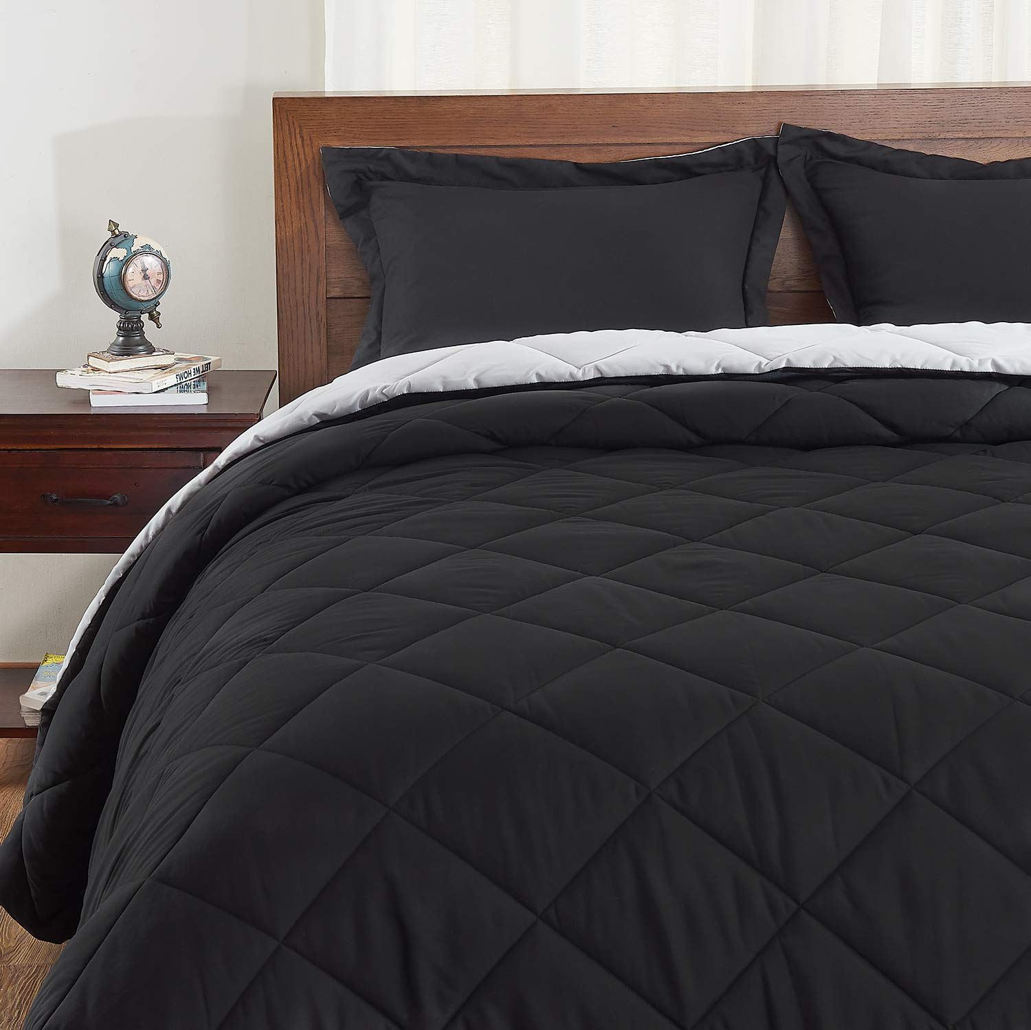 Basic Beyond Down Alternative Comforter Set (Queen, Black/Grey) - Reversible Bed Comforter with 2 Pillow Shams for All Seasons