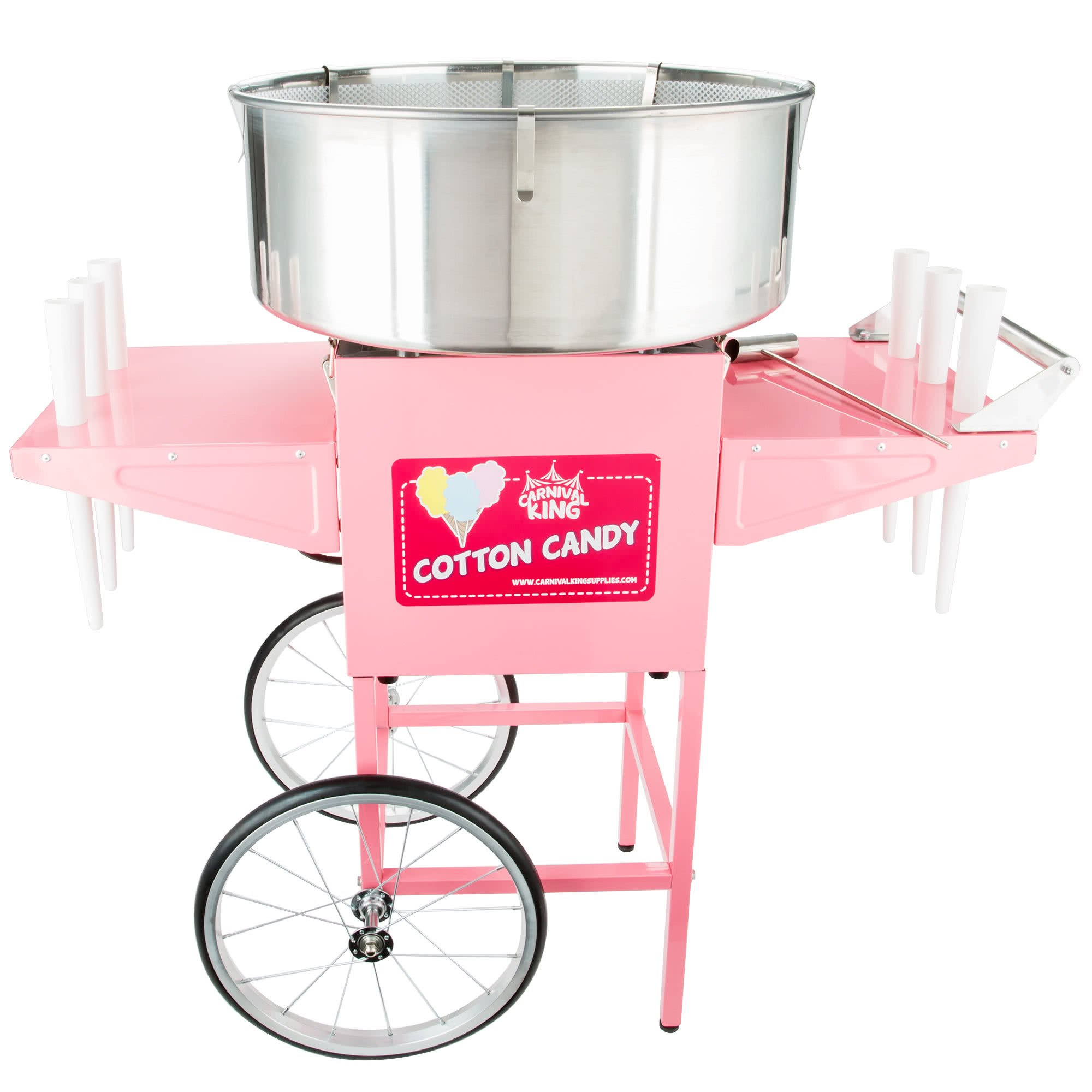 CCM21CT Cotton Candy Machine with 21'' Stainless Steel Bowl and Cart - 110V, 1050W by TableTop king