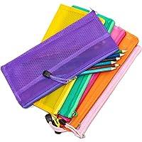SNDIA 5-PACK Multicolor Mesh Zippered Pen Pencil Case & Travel Pouch (24 X 12 cm)