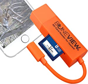BoneView SD Card Reader for iPhone - Trail Camera Viewer Reads Memory Chip from Any Deer Hunting Scouting Game Camera, Plays Video & Photos on All Apple iOS iPad and iPhone Smartphones