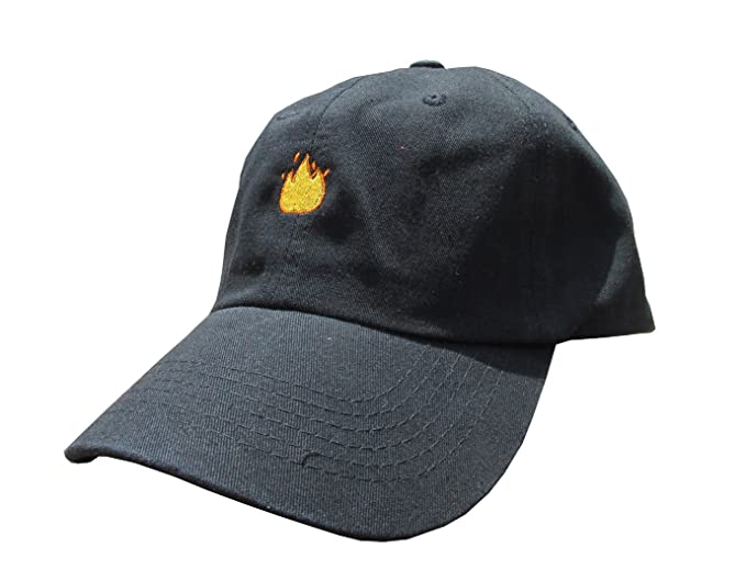 fb69788098f Image Unavailable. Image not available for. Color  Lit Fire Emoji Meme  Black Unstructured Twill Cotton Low Profile Yeezus Dad Hat Cap