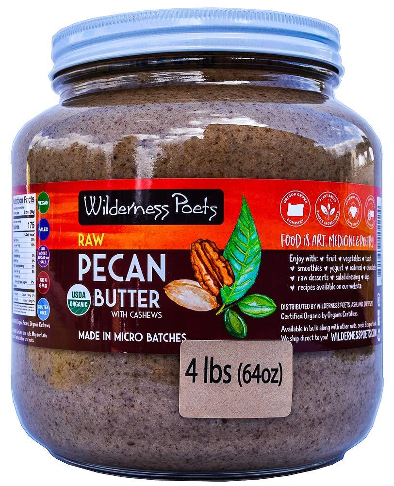 Wilderness Poets, Pecan Butter - Organic, Raw, Bulk Nut Butter - Half Gallon Glass Jar, 4 Pound (64 Ounce)