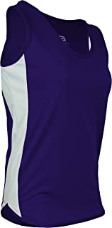 product image for PT-980W-CB Women's Single Ply Light Weight Dash Track Singlet-Odor Resistant (X-Large, Purple/White/Purple)