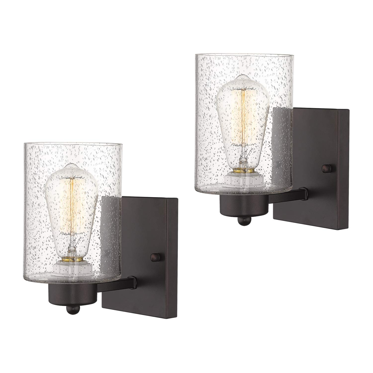 2-Pack Wall Sconces, Beionxii Vintage Bathroom Wall Mount Vanity Light 4.7''W x 8.5''H, Oil Rubbed Bronze Finish with Clear Seeded Glass