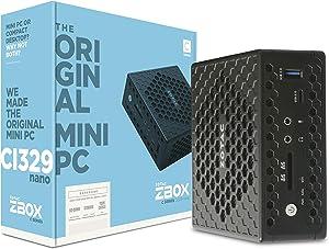 ZOTAC ZBOX CI329 Nano Silent Mini PC Intel N4100 CPU UHD Graphics 600 OS Barebones System (ZBOX-CI329NANO-U), No SSD, No RAM, No OS